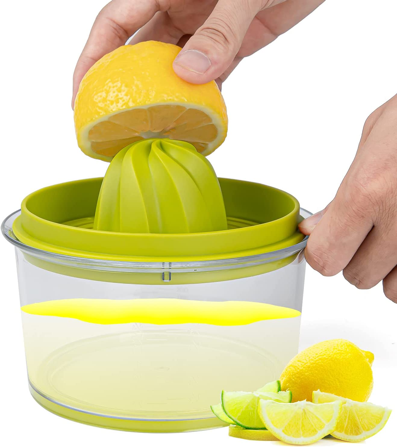 Citrus Juicer Manual Hand Lemon Squeezer, Easy To Use Multi-Function Lemon Orange Juicer Manual Hand Squeezer with Grater and Built-in 16OZ Measuring Cup- By RichPromize