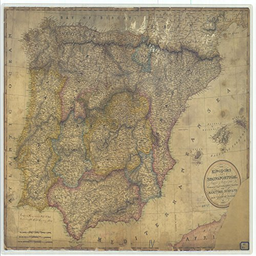 16 x 20 Glossy Nautical Map Printed on Metal The Kingdoms of Spain and Portugal 1811 NOAA 06a by Vintography
