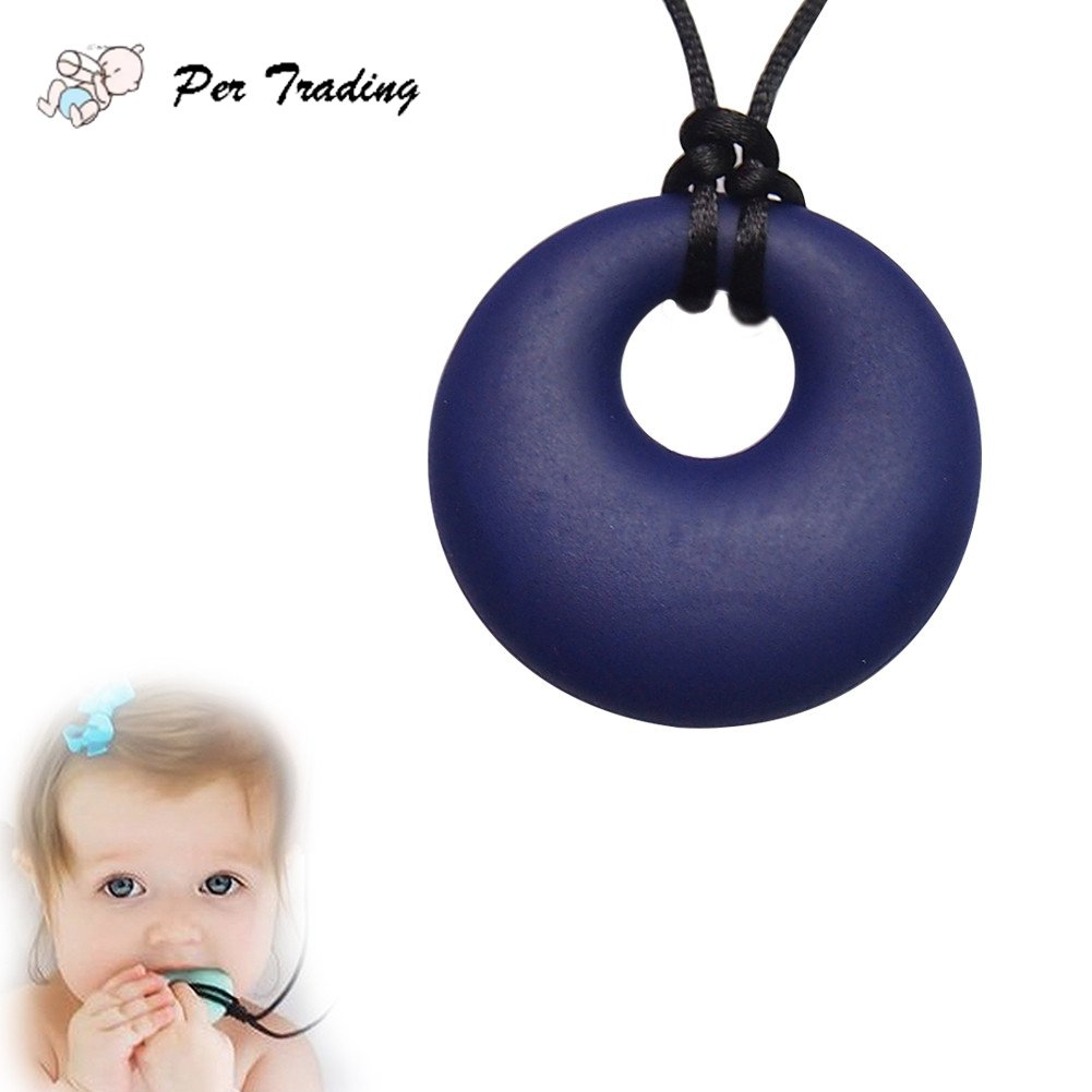 Silicone Teething Necklace, Baby Teether Infant Tooth Massage Training BPA Free and FDA Approved, Great Gift for Mom - Black Per