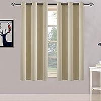 Yakamok Room Darkening Soild Grommet Blackout Curtains Bedroom Window Curtains Set of 2,42x63 Inch Beige, Bonus 2 Tie…