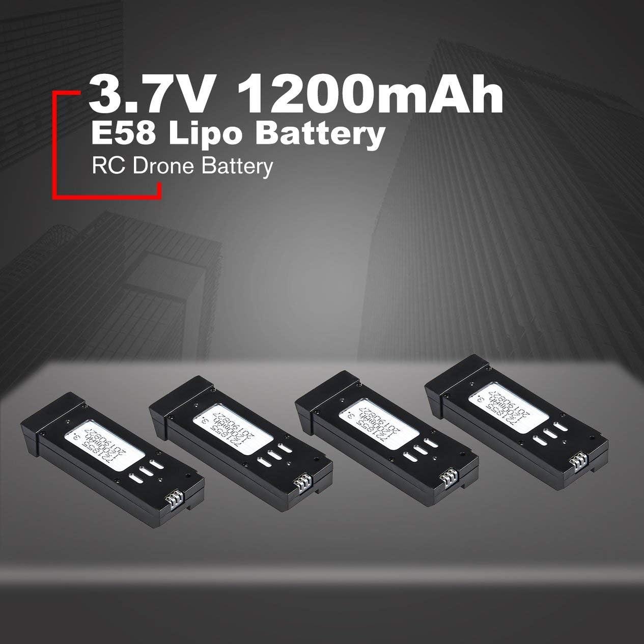 Negro BCVBFGCXVB 4Pcs 3.7V 1200mAh Bater/ía de lipo con Unidades de Cargador Cable para E58 JY019 Repuestos de Aviones no tripulados RC Reemplace Las bater/ías Recargables