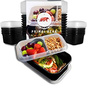 Primal Bear Meal Prep Container with Add-On Tray [10 Pack] Food Storage Compartment - Bento Box - | BPA/Microwaveable | Reusable |