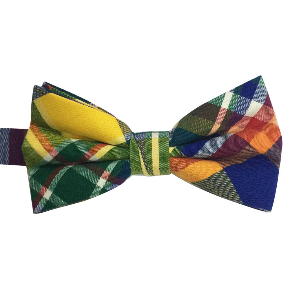 AINOW Mens Cotton Adjustable Tuxedo Handmade Pre-tied Bowtie Multi Color Plaid Pattern Ties