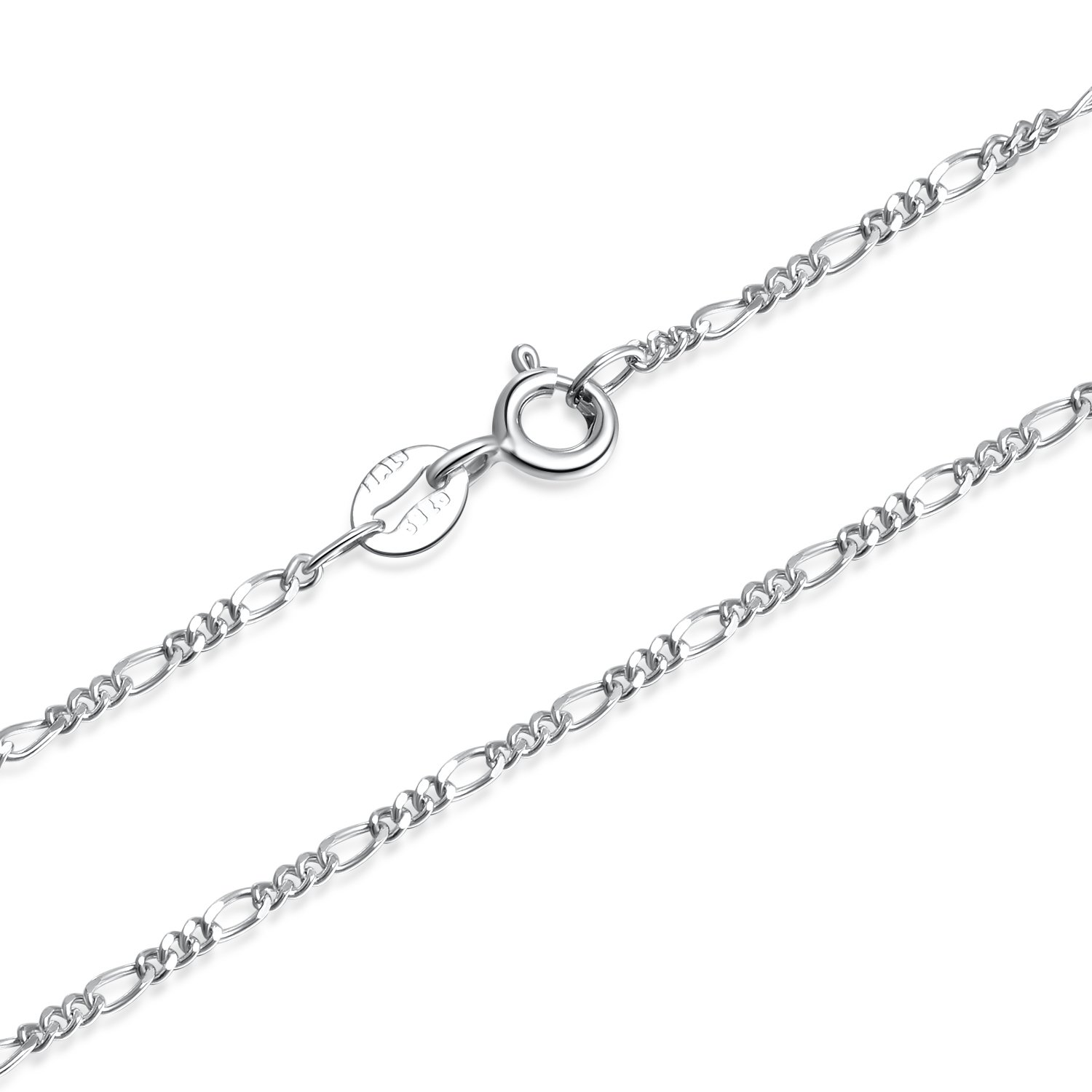 1.5mm 925 Sterling Silver Italian Figaro Chain Necklace 14-30 inch Women Girls Silbertale SN011