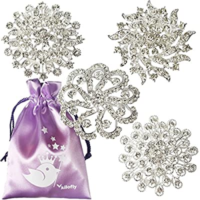 kilofly 4pc Rhinestone Wedding Crystal Floral Fashion Brooch Pin + Gift Bag