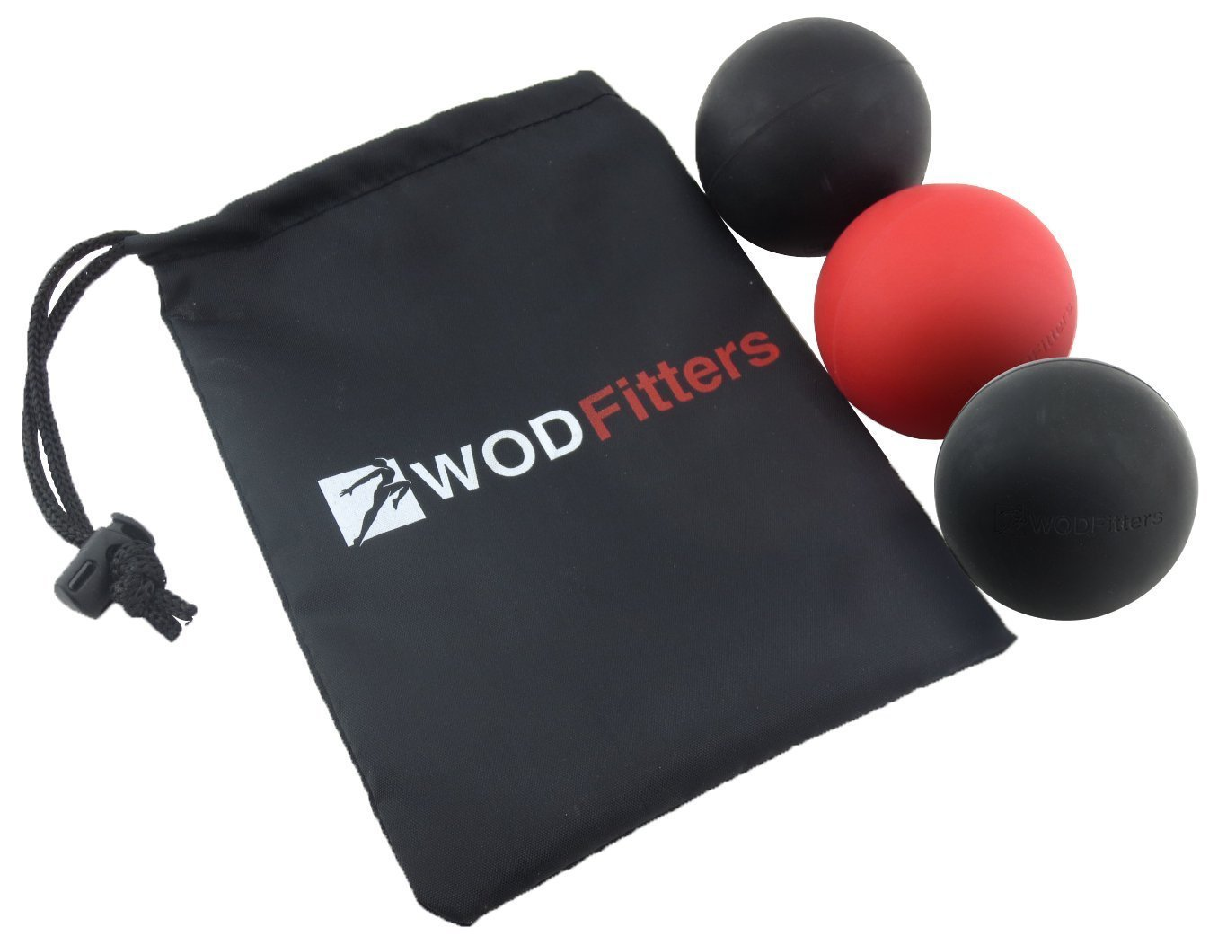 WODFitters Mobility Lacrosse Balls - Set of 3 Massage Balls for Trigger Point and Myofascial Release Specifically Designed for Cross Training, Mobility, Warm Up, Recovery WODs for Increased Performance and Overall Fitness + Carrying Bag (3 Pack)