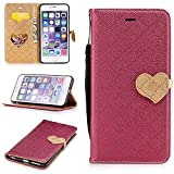 iphone 6 PLUS/6S PLUS Wallet Case,iphone 6 PLUS/6S PLUS Leather Case,Cozy Hut Love heart pattern Book Wallet PU Leather Flip Case Magnetic Closure [Drop Protection/Shock Absorption] Silicone Back Holder Cover with Card Slots & Stand & Wrist Strap For iphone 6 PLUS/6S PLUS - Red lo