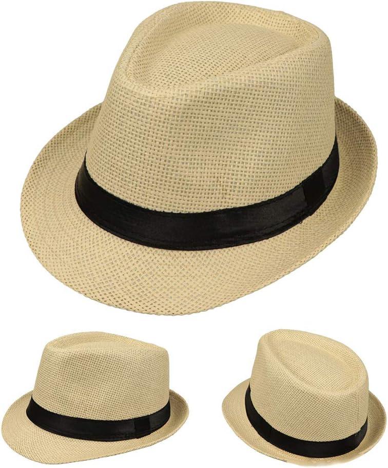 A # Black JOYKK Bambini Cappello di Paglia Summer Beach Jazz Panama Trilby Cappello Fedora Gangster cap Outdoor Cappelli Traspiranti Ragazzi Ragazze Sunhat