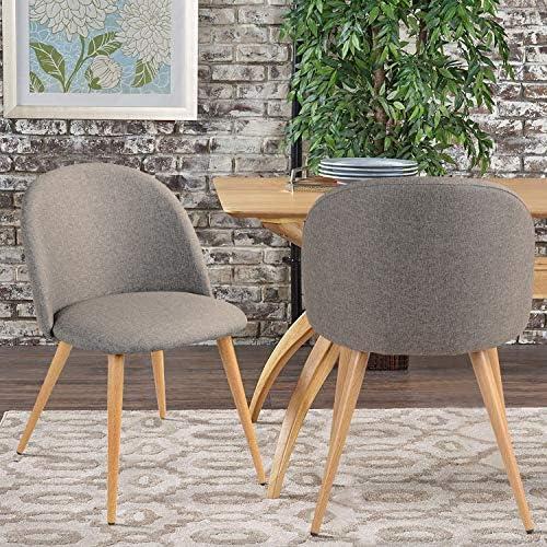 Lot de 2 chaises de Salle à Manger Mid Century Modern Accent rembourrées avec Pieds en Bois pour Cuisine, Salle à Manger, Salon, Gris
