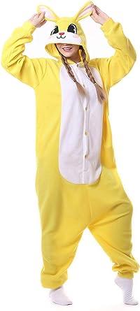 Fandecie Pijama Amarillo Conejo, Onesie Modelo Animales para ...