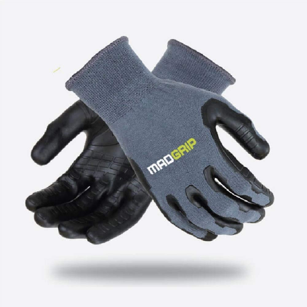 MadGrip Pro Palm Utility Gloves, Gray/Black Cut, Large