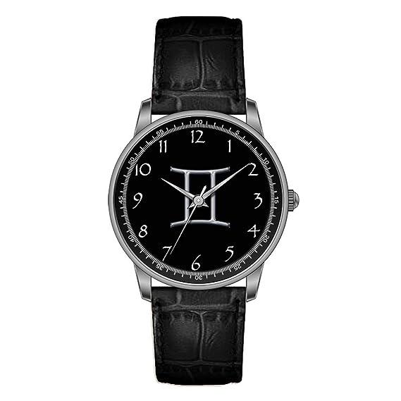 KSD personalizado reloj de las mujeres Vintage diseño piel negro banda reloj de pulsera Géminis ZODIAC
