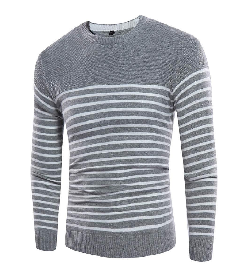 omniscient Mens Tee Long-Sleeved Striped Crewneck Pullover Lightweight Sweater