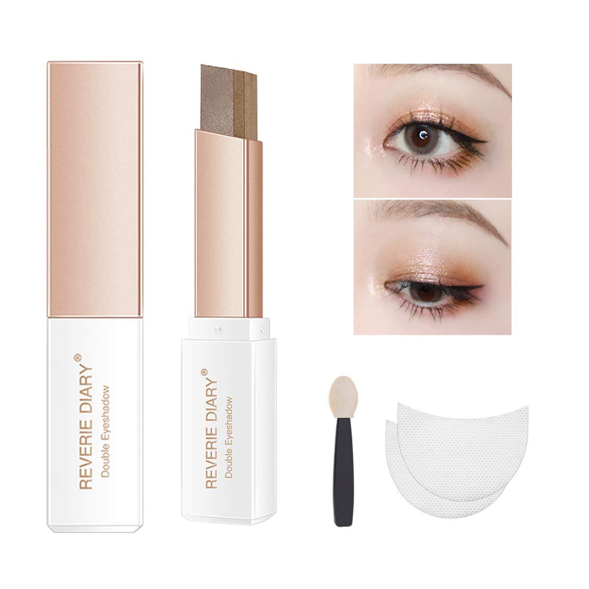 Three-piece eyeshadow stick eyeshadow prush eyeshadow sticker, eyeshadow stick two-color gradient glitter eye shadow pen rotating design, simple makeup, waterproof and not Blooming(EarthTone)
