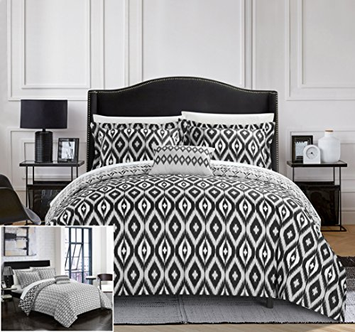 Black White Contemporary Bedding - Chic Home 4 Piece Normani Reversible Ikat Diamond and Contemporary Geometric Pattern Print Technique Queen Duvet Cover Set Black