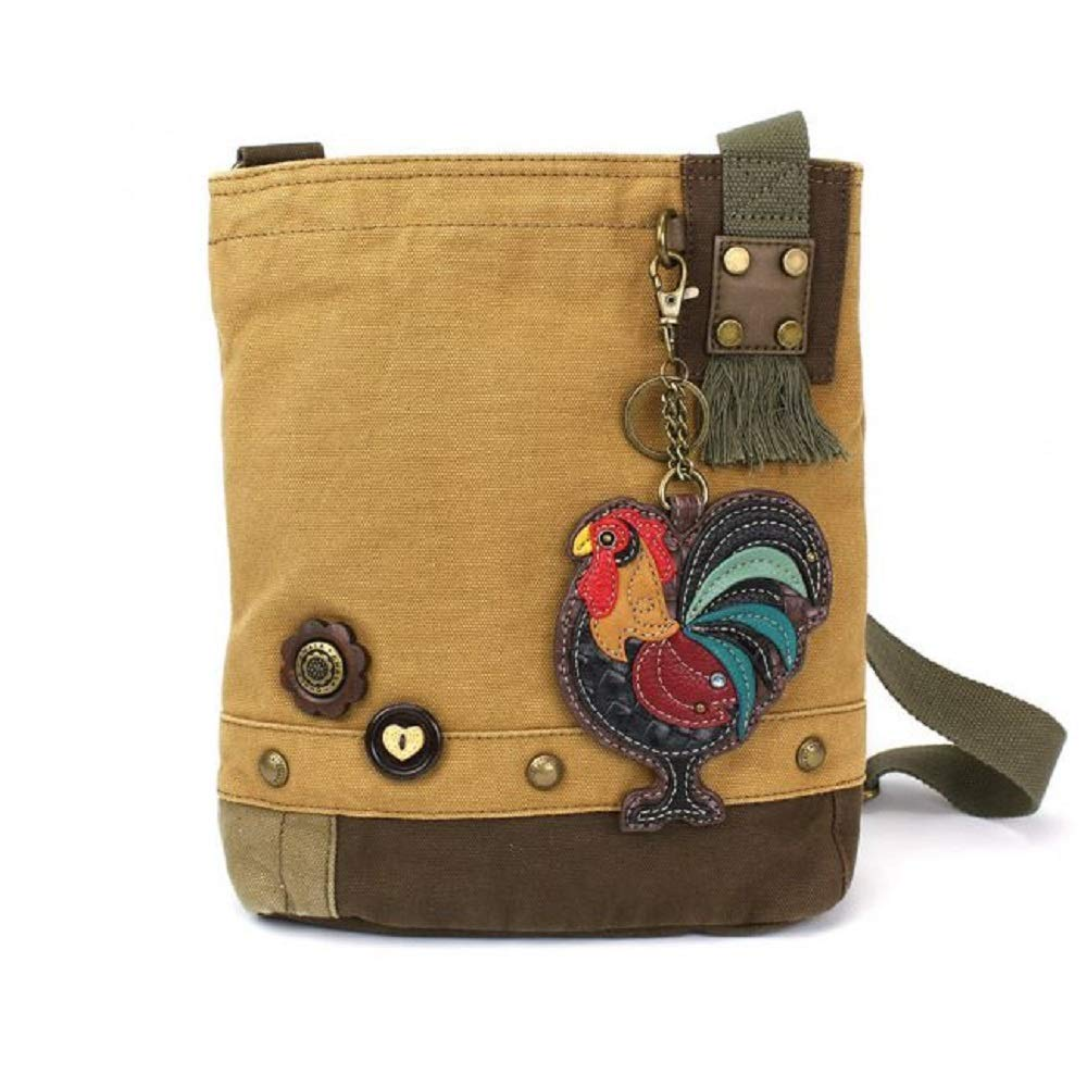 Chala Handbag Patch Crossbody Brown Bag Canvas Rooster