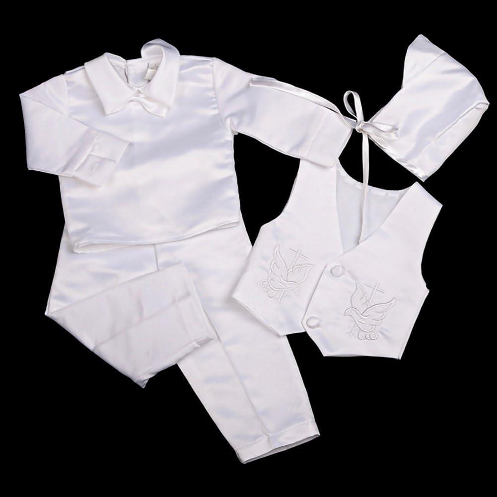 Traje de bautizo para beb/é Lito Angels 4 piezas, sat/én, mangas cortas//largas