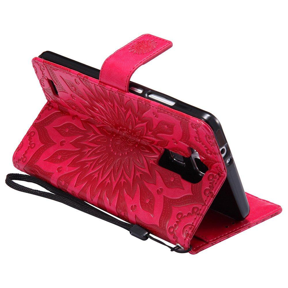 COTDINFOR Huawei Mate 7 Funda Flores Cierre Magn/ético Billetera con Tapa para Tarjetas de C/árcasa Elegante Retro Suave PU Cuero Caso Protectora Case para Huawei Mate 7 Sunflower Red KT