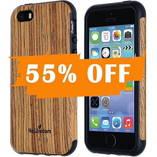 NeWisdom iPhone 5 5S SE Wood Case Suitable for Apple iPhone 5 5S SE Non Slip Unique Cover Teakwood