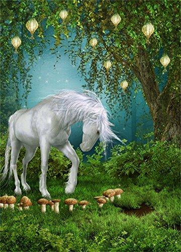 OFILA Unicorn Backdrop 6x8ft Fairy Tale Forests Little Girl Princess Children Birthday Enchanted Theme Party Fantasy Trees Mushroom Elf Grass Land Newborn Baby Kids Toddlers Photo Video Studio -