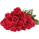 20pz Seta Rosa Fiori Artificiale Mazzo Nozze Regalo A Casa Del Partito Decorazioni - Rosa rossa, As Described