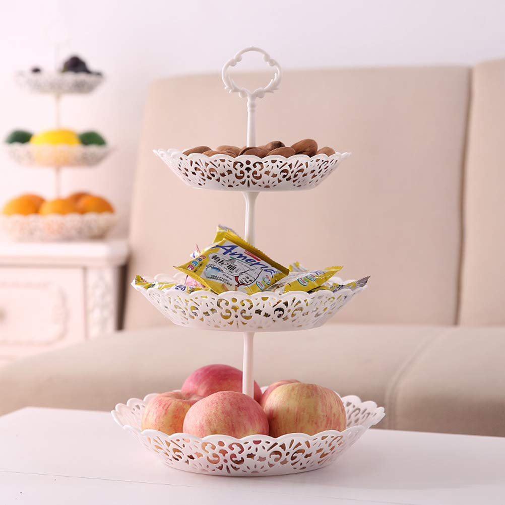 OUNONA Three-Tier Cake Display Stand Plate Afternoon Tea Party Serving Platter Cupcake Dessert Stand for Birthday Wedding Decor