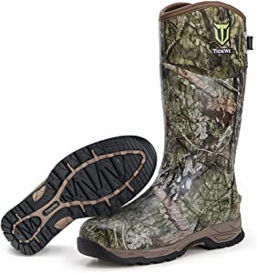 TIDEWE Rubber Hunting Boots, Waterproof Insulated Realtree & Mossy Oak Camo Warm Rubber Boots with 6mm Neoprene, Durable Outdoor Muck Hunting Boots for Men (Size 5-14)