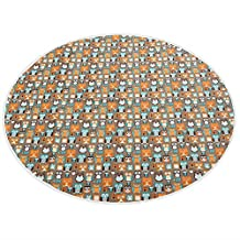 Zicac Large Owl Printed Washable Wipe Clean No Mess Floor Splash Round Mat Protector Cover for Kids Baby Toddler Infant under Feeding Highchair (Coffee)