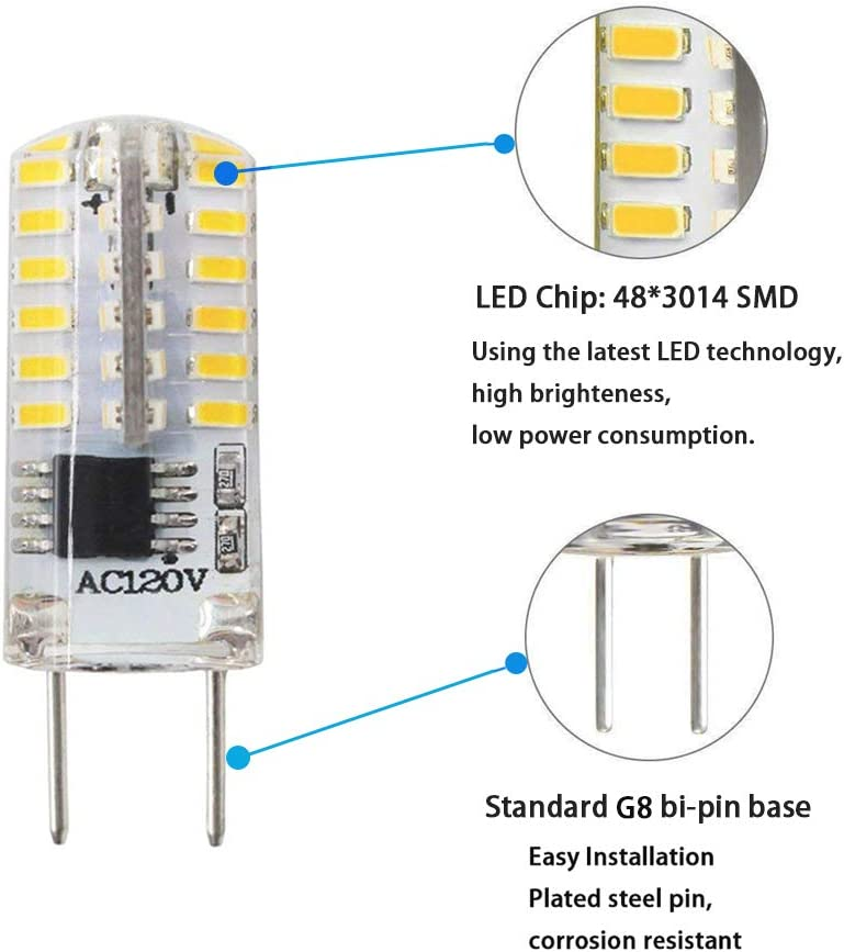 Amazon.com: Bombilla G8 T4 3 W G8 LED Bombilla regulable ...