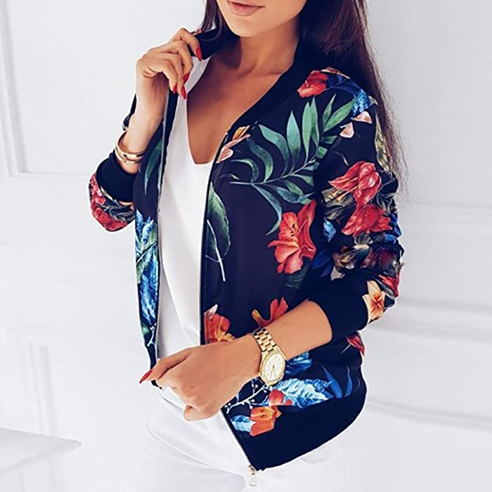 998c7886d Women's Bomber Jacket Floral Printed Classic Zip Up Biker Short Jacket Lady  Casual Loose Raglan Sleeve Zipper Short Bomber Jacket Coats Flight Jacket  ...