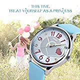 Girls Analog Watch, Fashion Lady Quartz Wrist Watch Leather Band Big Face Fun Cute Watches with Lovely Heart Shape Waterproof - Blue