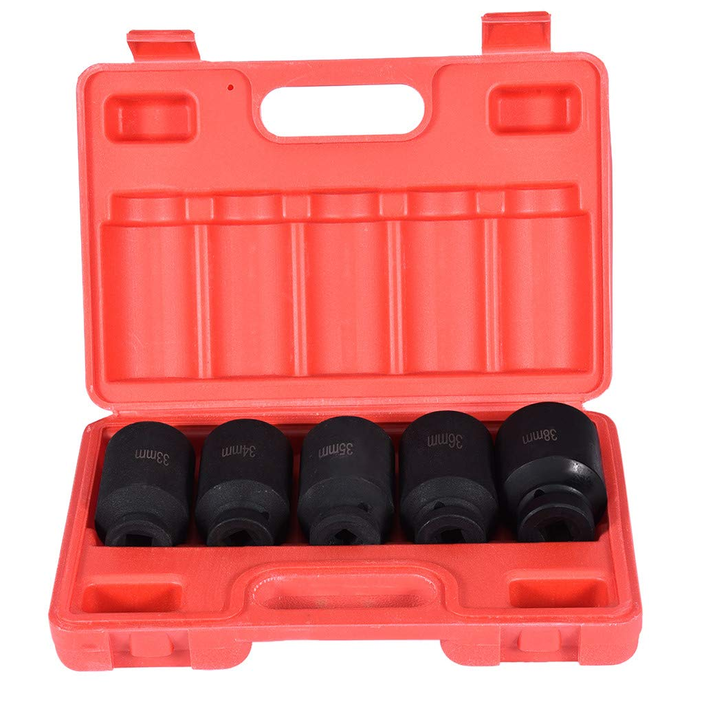 Chranto lucky 7 ! ! 5PCS 1/2''DR. Front And Back Wheel Drive Spindle Axle Nut Deep Impact Socket Set