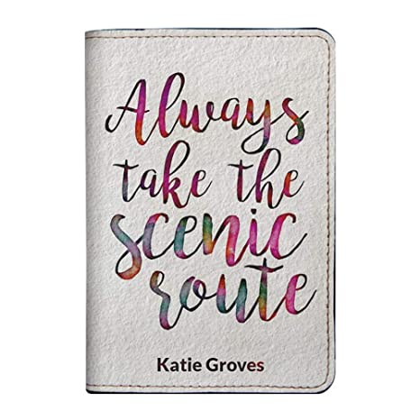 1bad1de27b2e Personalized Leather Passport Holder Cover - Customized Travel Gift With  Quotes