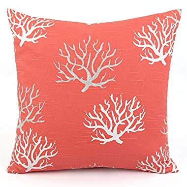 Chloe & Olive Wonders of The Seas Salmon Collection Ocean and Sea Decorative Pillow Cover, 18-Inch, Coral Orange