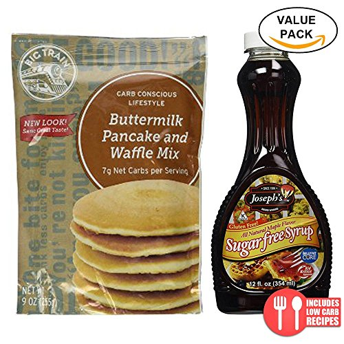 Value Combo Pack: Big Train Low Carb Pancake Mix and Joseph's Sugar Free Maple (Big Train Low Carb)