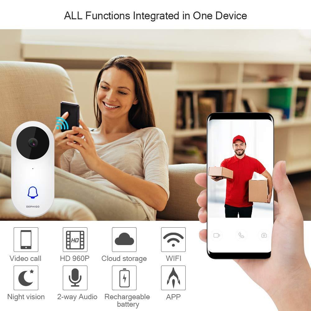 Dophingo 960p HD Interphone vid/éo avec sonnette de porte sans fil en temps r/éel Vid/éo Surveillance vid/éo en temps r/éel Stockage Cloud gratuit Compatible avec iOS Android