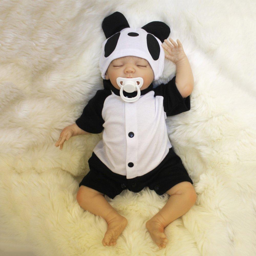 Promoción por tiempo limitado YIHANGG Reborn Body Silicone Vinyl Doll Sleeping Boy Babies 18 Pulgadas 45 Cm Boca Magnética Full Alive Baby Real Vinyl Belly Kids Toy Niños Regalo De Cumpleaños