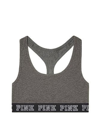 ceaf8b8a8ca94 Victoria s Secret Pink Logo Cotton Bra Top Dark Grey at Amazon ...