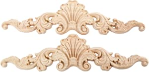 MUXSAM 2Pcs Wood Carved Long Onlay Applique Craft Wooden Appliques for Furniture Door Cabinet Unpainted Frame Door Decor Home Furniture Applique Corner Decorations (20x5cm/7.87
