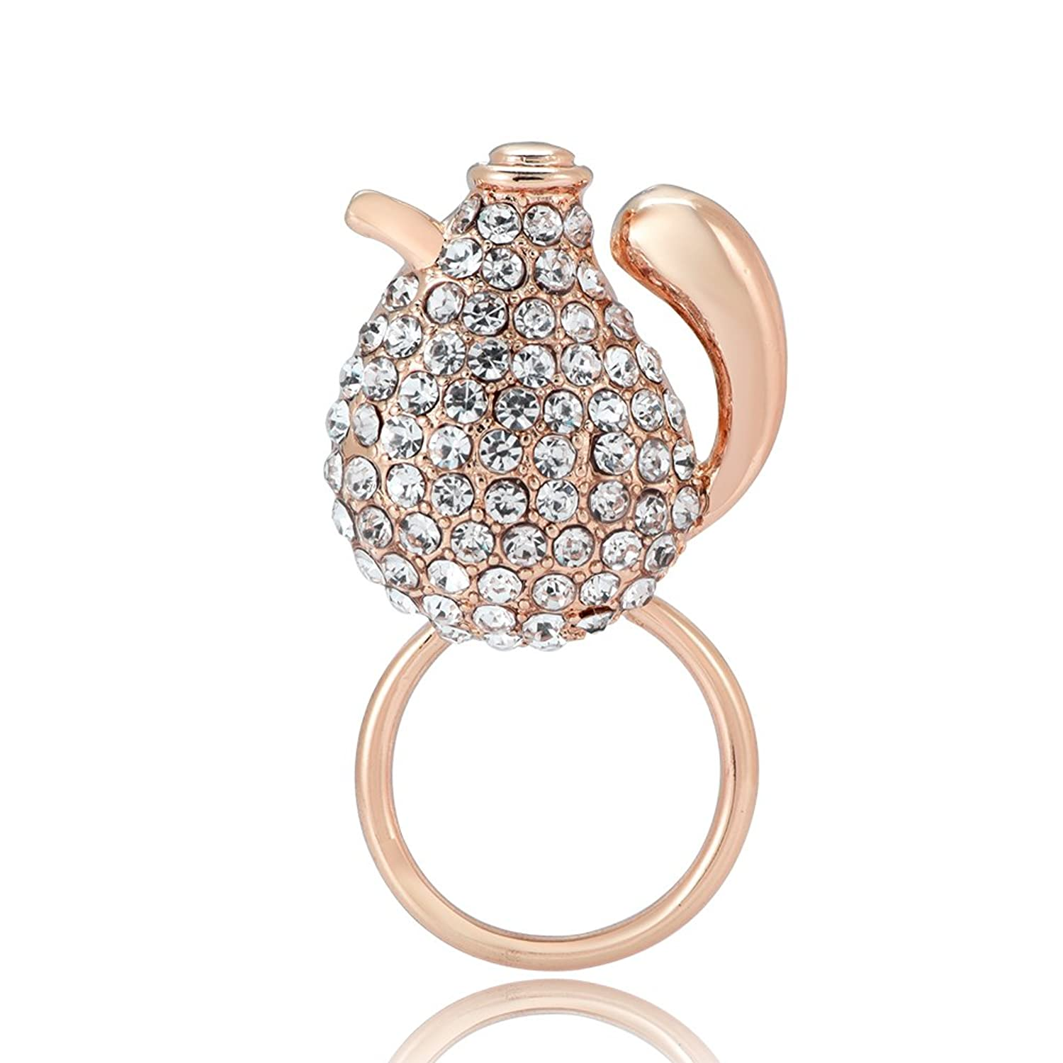 PANGRUI Cute and Funny Very Fat Kettle with Crystal Rhinestones Magnetic Eyeglass Holder Brooch Pin get discount