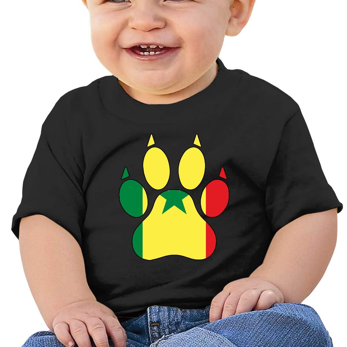 Senegal Flag Dog Paw Newborn Baby Short Sleeve Crewneck Tee Shirt 6-18 Month Tops