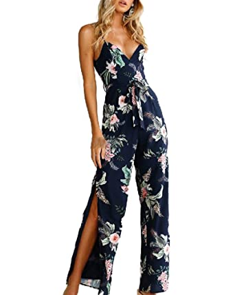 11599936f4bc Indistyle Women s Sexy Deep V Neck Strap Floral Print High Split Jumpsuit  Wide Long Pants Rompers