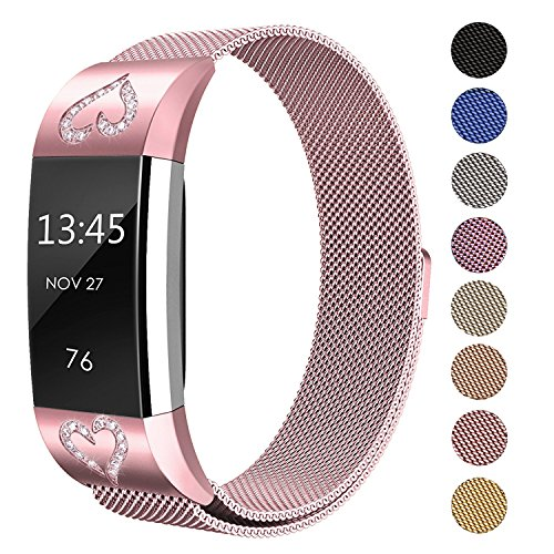 SWEES Metal Bands Compatible Fitbit Charge 2, Milanese Stainless Steel Metal Magnetic with Diamond Dressy Design Replacement Wristband Small (5.5
