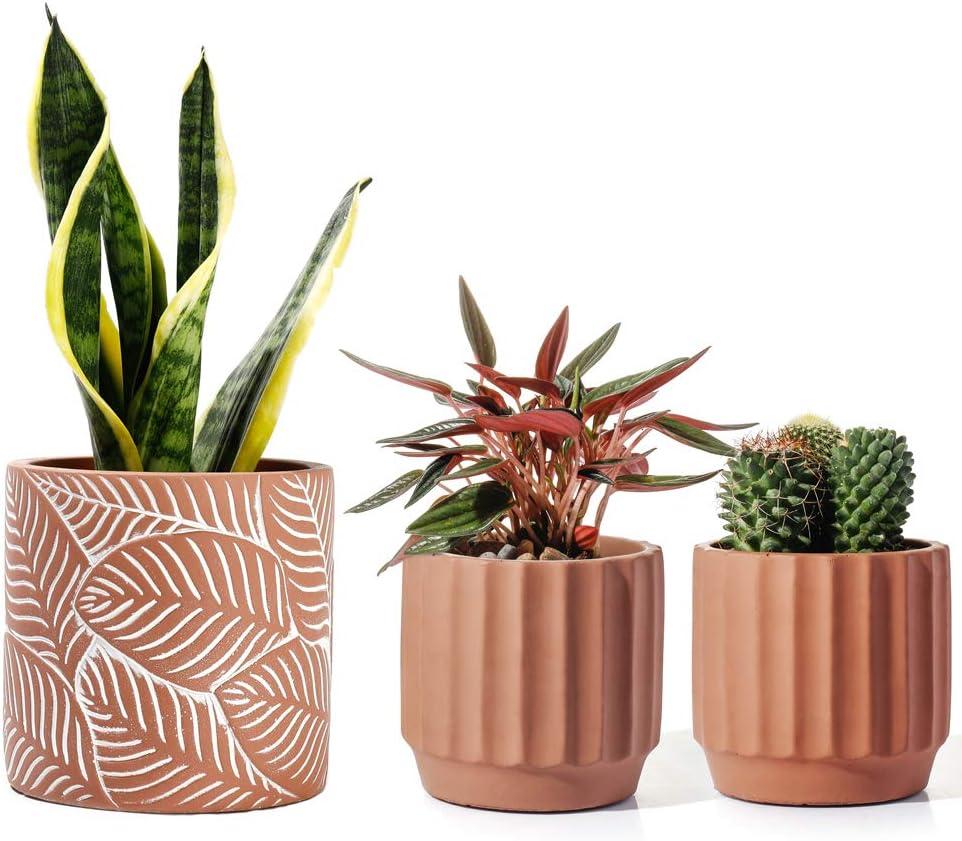POTEY Cement Planter Terracotta Color