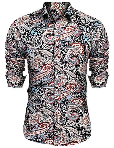 URRU Men's Floral Dress Shirt Long Sleeve Casual Paisley Printed Button Down Shirt Black L ()