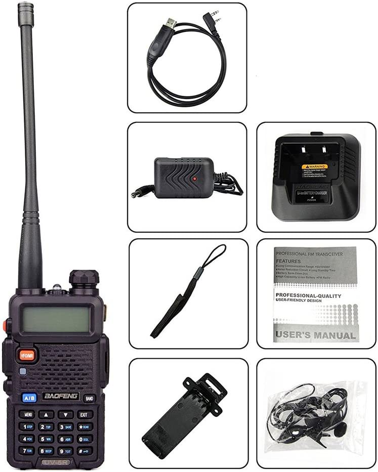 2Pack Baofeng UV-5R Dual-Band 136-174/400-480 MHz Ham Two-way Radio + Programming Usb Cable + Software Disk Kit(Black) 61mD2LMK5HL