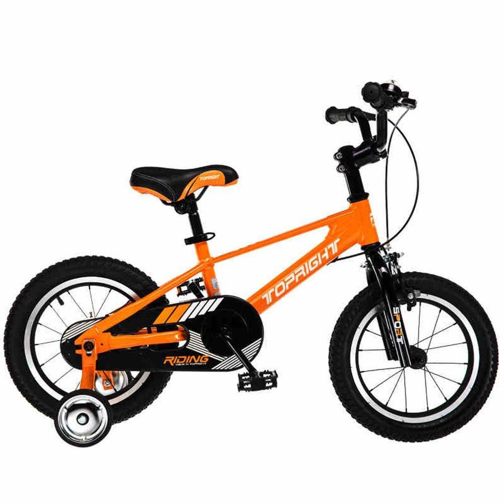 Bicyclehx キッズバイク サイズ12 14 16 18 インチ 高耐久取り外し可能スタビライザー 子供用自転車 子供ギフト オレンジ 18 inch