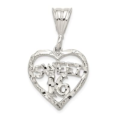ebbf903bd5be Image Unavailable. Image not available for. Color  925 Sterling Silver  Heart Sweet Sixteen Girl 16 Birthday Pendant ...