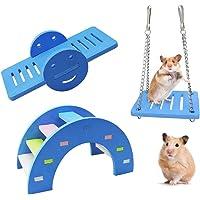 WishLotus 3pcs Lovely Hamster Play Toys, Rainbow Bridge & Seesaw & Swing, Climb and Play Toy, Boredom Breaker Small…
