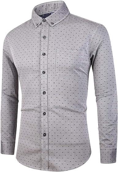 Heetey - Camisa de Manga Larga para Hombre, Cuello con botón, diseño Casual, Camisa a Cuadros, Manga Larga, Oktoberfest, no Necesita Planchado, de algodón: Amazon.es: Ropa y accesorios
